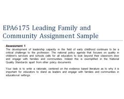 EPA6175 Leading Family and Community Assignment Sample