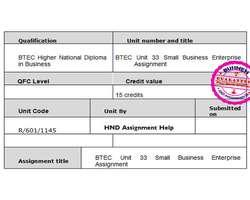 BTEC Unit 33 Small Business Enterprise Assignment