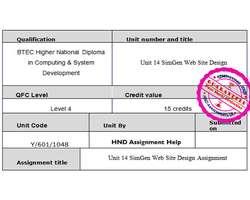 Unit 14 SimGen Web Site Design Assignment