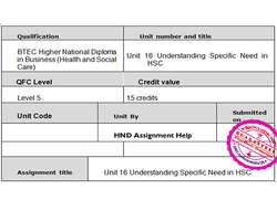 Unit 16 Understanding Specific Need in HSC Assignment