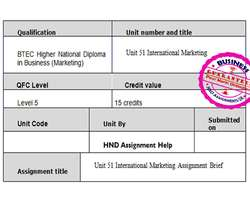 Unit 51 International Marketing Assignment Brief