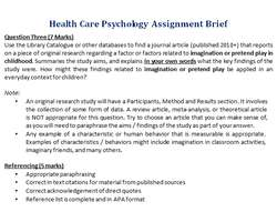 Health Care Psychology Assignment Brief