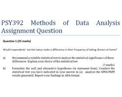PSY392 Methods of Data Analysis Assignment Question