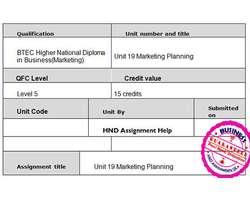 Unit 19 Marketing Planning Assignment