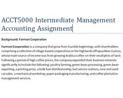 ACCT5000 Intermediate Management Accounting Assignment