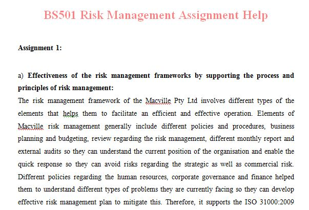 risk management assignment This report is intended to assist the reader in detailed understanding the credit risk management process it also attempts to capture the procedures practiced in ific bank limited in relation to credit handling.