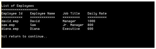List of employee screen