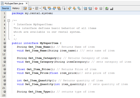 Screen Shot fromMySuperItem.java