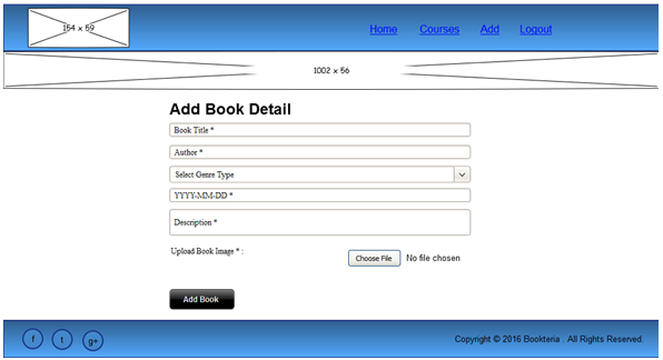 Wireframe of Add-Book