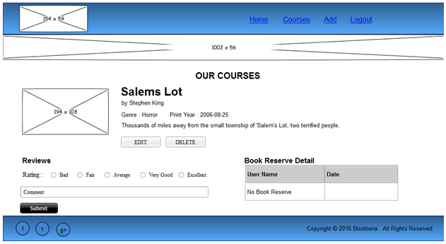 Wireframe of Admin Course Detail