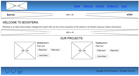 """Wireframe of """"Bookteria"""" Homepage"""