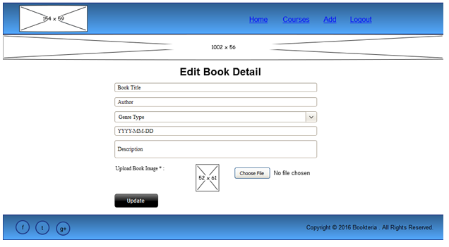 Wireframe of Edit book