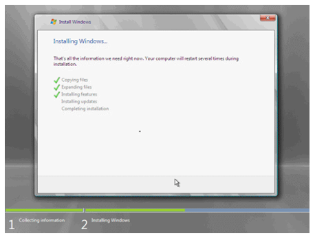 Now the installation process starts. The system may reboot several times during the installation process