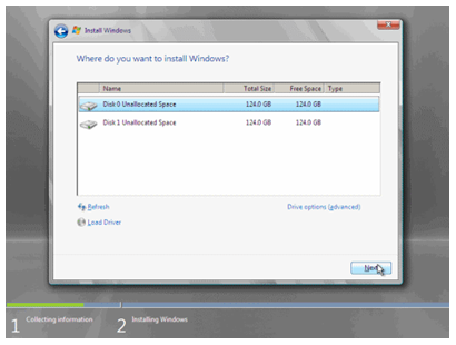 Select tour drive or partition to install operating system