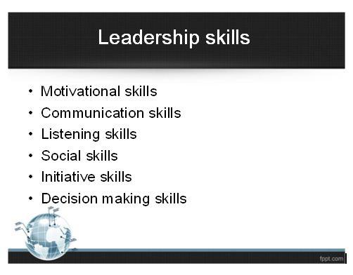 Leadership Skills Presentation 1