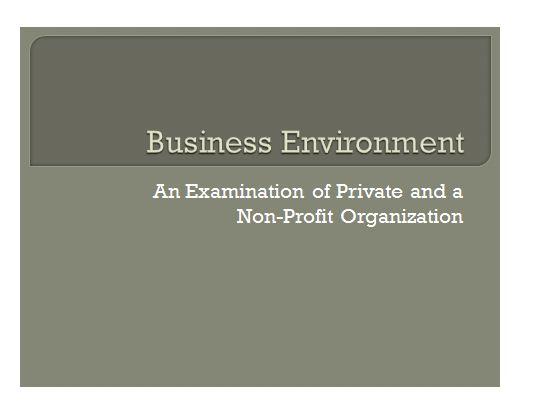 Business enviroment Presentation 1