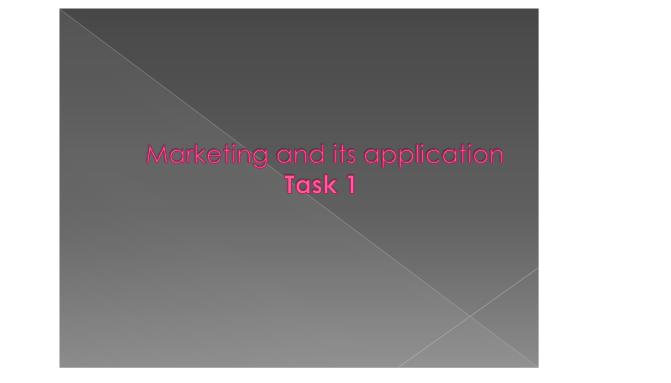 Marketing & its Application Slide 1
