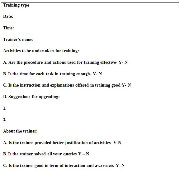 Table 3: TRAINING EVALUATION QUESTIONNAIRE FORM