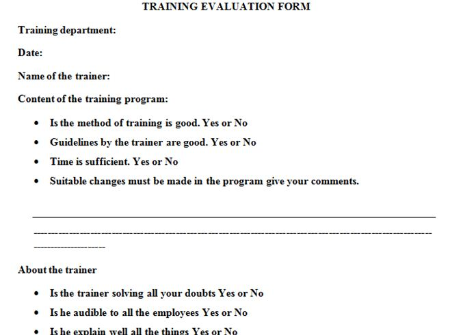 Tranning Evaluation Form