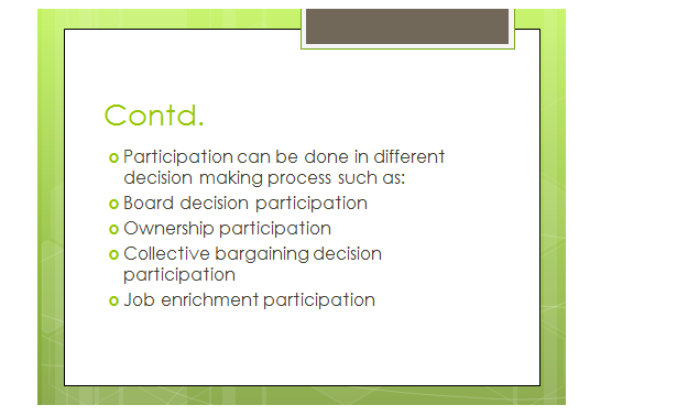 employee participation and involvement in decision making slide 3