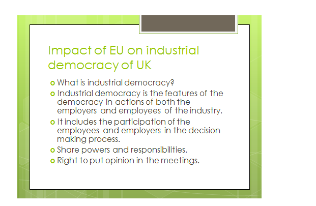 EU on industrial democracy slide 2