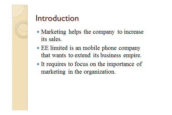 Marketing of EE Ltd. Slide 1