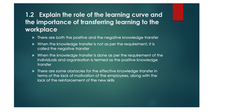 role of the learning curve slide 2