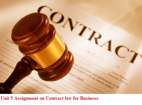 Unit 5 Assignment on Contract law Business