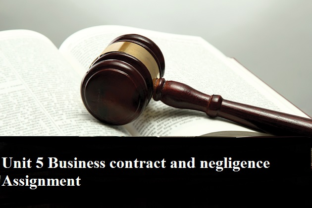 Unit 5 Business contract negligence Assignment