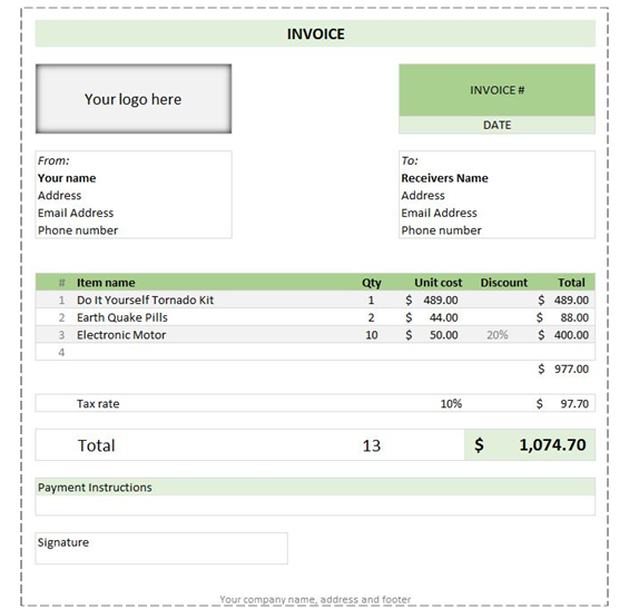 Sample invoice slip