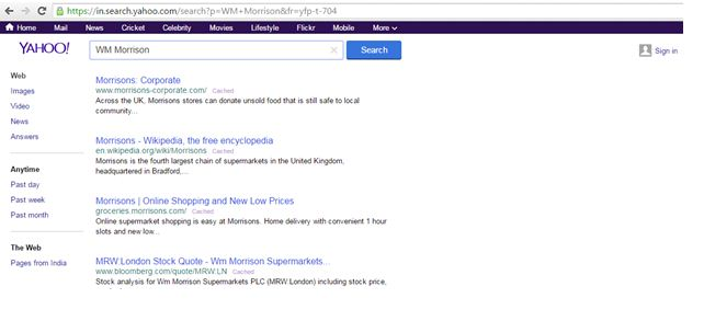 Search for Yahoo