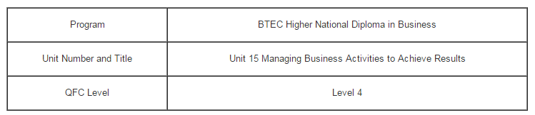 Unit 15 Managing Business Activities to Achieve Results Assignment