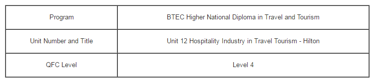 Unit 12 Hospitality Industry in Travel Tourism Assignment - Hilton