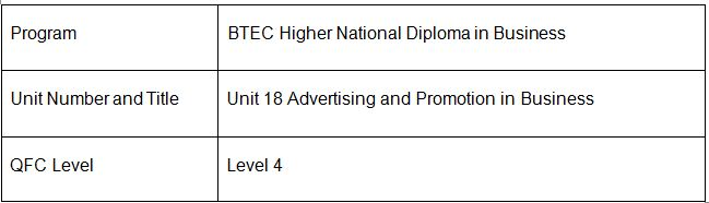 Advertising and Promotion in Business   Assignment writing Services