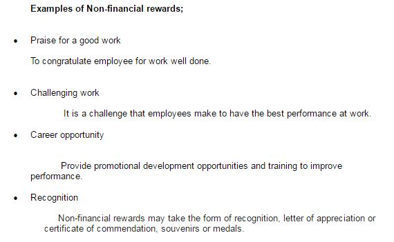Example of non financial reward | Assignment Writing Services