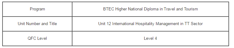 Unit 12 International Hospitality Management in TT Sector Assignment - Assignment Help in Uk