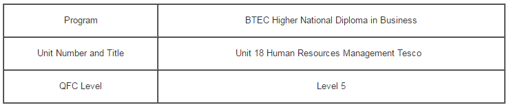 Unit 18 Human Resources Management Assignment Tesco - Assignment Help in UK