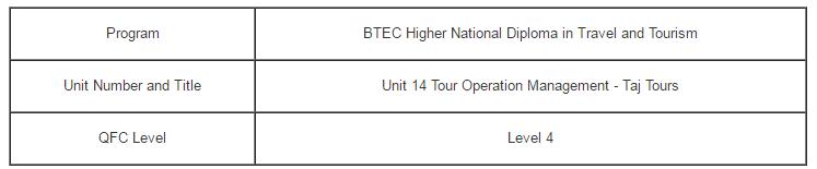 Unit 14 Tour Operation Management Assignment Taj Tours - Assignment Help in UK