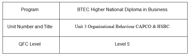 Unit 3 Organisational Behaviour Assignment CAPCO & HSBC 2