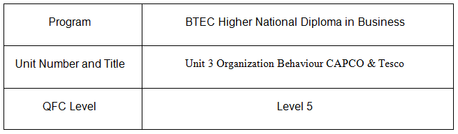 Unit 3 Organization Behaviour Assignment CAPCO & Tesco 2