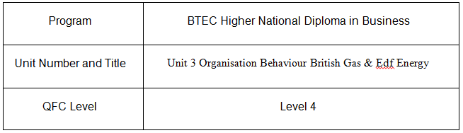 Unit 3 Organisation Behaviour Assignment British Gas & Edf Energy 1