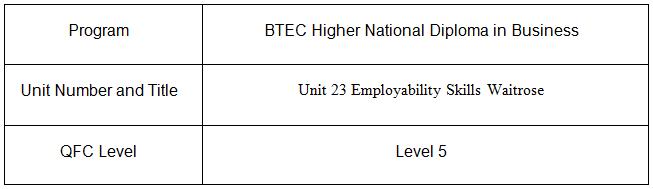 Unit 23 Employability Skills Assignment Waitrose 1