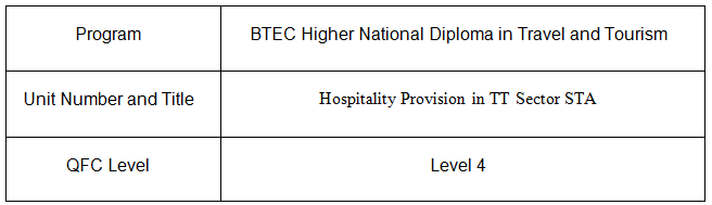 Hospitality Provision in TT Sector Assignment STA 1