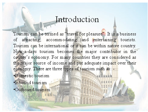 Tourist Destinations Slide 1 - Assignment Help in UK
