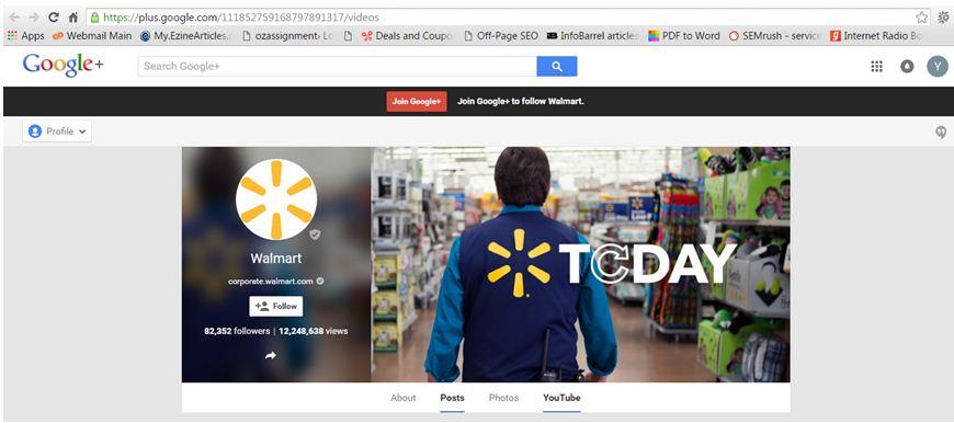 Google page of Walmart