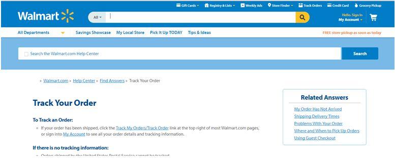 order processing of Walmart