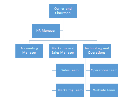 organizational chart of the company
