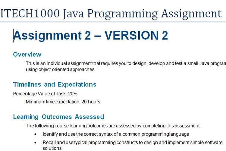 ITECH1000 Java Programming Assignment