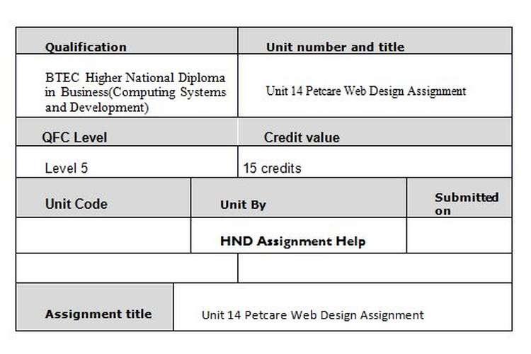 Unit 14 Petcare Web Design Assignment