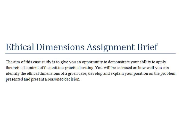 Ethical Dimensions Assignment Brief